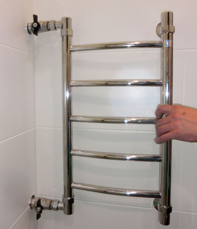 Установка полотенцесушителя с боковым подключением